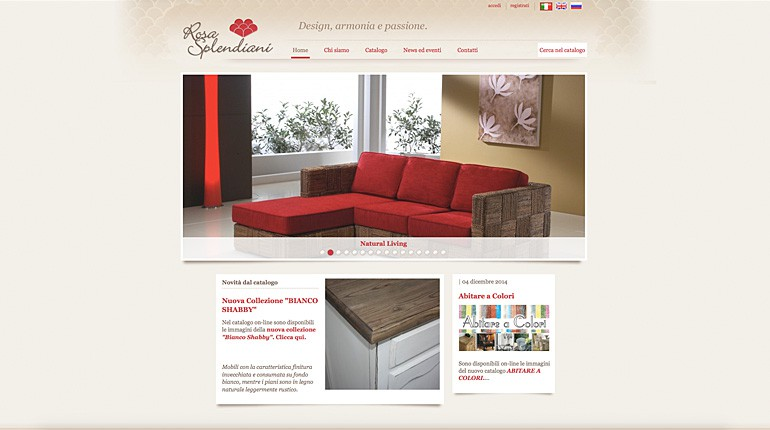 Design, armonia e passione on line con rosasplendiani.it